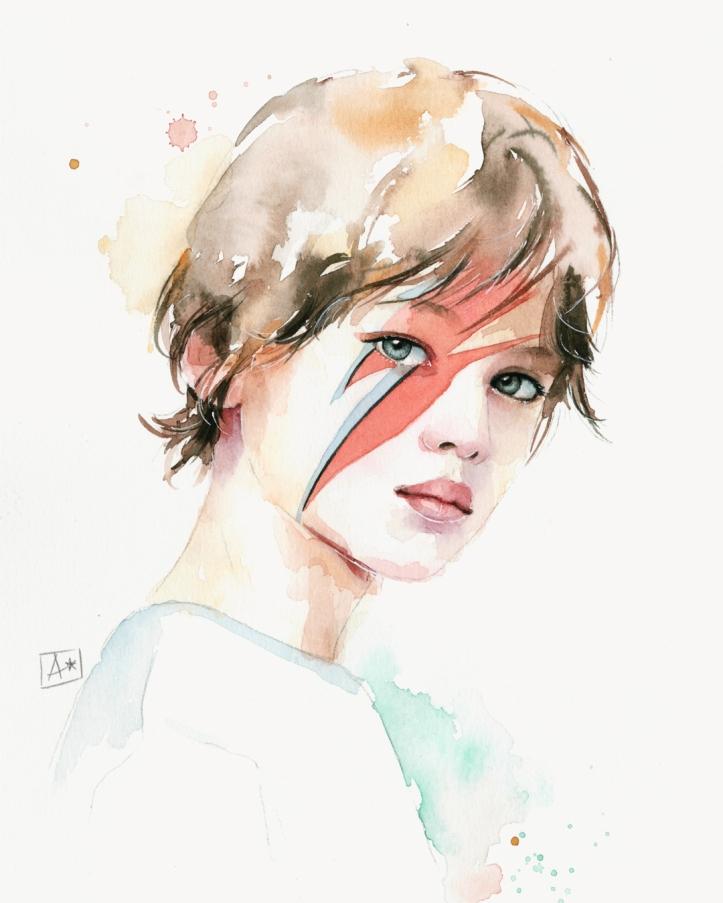 Ritratto di bambino Bowie con acquerello di Almu Ruiz
