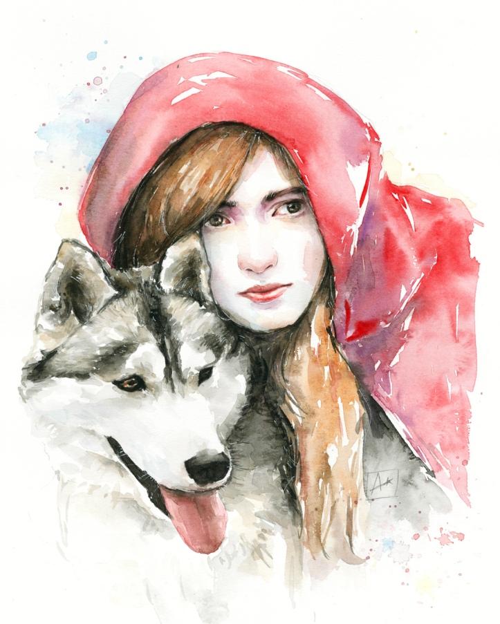 Illustrazione con acquerello Cappuccetto Rosso e il lupo di Almu Ruiz