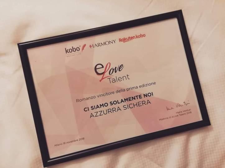 Premio e-love talent harmony vincitore dell'edizione 2018 azzurra sichera